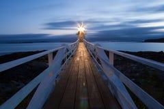 马歇尔在日落的点灯塔,缅因,美国 免版税库存图片