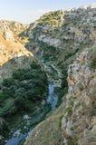 马泰拉岩石的惊人的边 库存照片