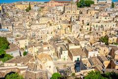 马泰拉美丽的中世纪镇的鸟瞰图  免版税库存图片