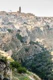 马泰拉镇有美丽的岩石的 免版税库存照片