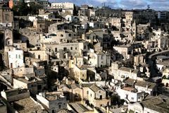 马泰拉,地下城市,意大利 库存照片