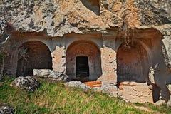 马泰拉,巴斯利卡塔,意大利:在公园rupest晃动教会 库存照片