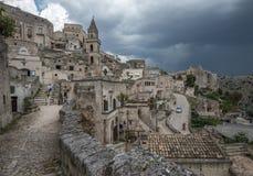 马泰拉(Sassi二马泰拉),巴斯利卡塔,意大利古镇  免版税库存图片
