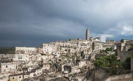 马泰拉(Sassi二马泰拉),巴斯利卡塔,意大利古镇  免版税库存照片
