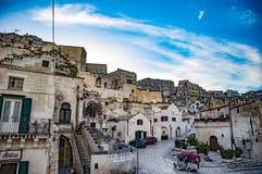 马泰拉Sassi二马泰拉古镇  巴斯利卡塔,南意大利 免版税库存照片
