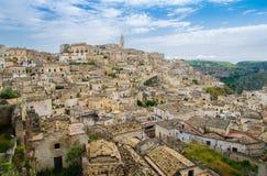 马泰拉Sassi历史中心Sasso Caveoso,巴斯利卡塔,意大利 图库摄影