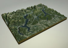马焦雷湖、科莫湖和莱科卫星视图,意大利 图库摄影
