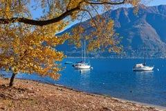 马焦雷湖在秋天 免版税库存图片