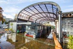 马焦雷湖在洛枷诺溢出 免版税库存图片