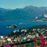 马焦雷湖看法,从斯特雷萨 免版税库存照片