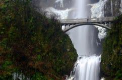 马特诺玛瀑布alongs历史的哥伦比亚河高速公路 免版税图库摄影