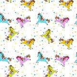 马玩具生日无缝的样式 库存照片