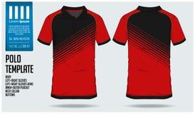 马球T恤杉体育足球球衣、橄榄球成套工具或者体育俱乐部的设计模板 炫耀在正面图和后面看法的制服 向量例证