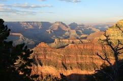 从马瑟点的大峡谷发光的日落 免版税图库摄影