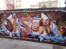 马略卡的传统食物街道画 免版税库存图片
