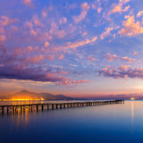 马略卡穆罗角海滩日出Alcudia海湾马略卡 免版税库存照片