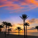 马略卡El阿雷纳尔sArenal在帕尔马附近的海滩日落 图库摄影