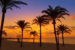 马略卡El阿雷纳尔sArenal在帕尔马附近的海滩日落 免版税图库摄影