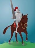 马的中世纪骑士 免版税库存图片