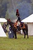 马的法国军队战士人在Borodino争斗历史再制定在俄罗斯 库存照片