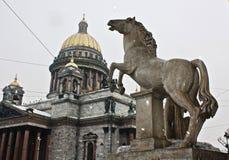 马的雕象在圣Isaac& x27背景的; s大教堂 库存照片