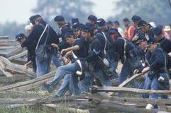 马纳萨斯争斗的历史再制定,指示南北战争的起点,弗吉尼亚 库存照片