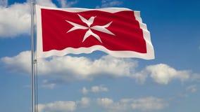 马耳他民用旗子反对背景云彩天空的 向量例证