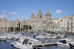马耳他的Vittoriosa小游艇船坞 免版税库存照片