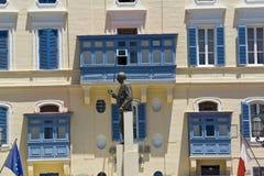 马耳他, La瓦莱塔,乔治Borg奥利维尔Castille广场雕象 库存照片