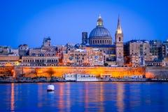 马耳他,La瓦莱塔港口微明 免版税库存照片