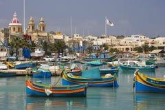 马耳他- Marsaxlokk港口 免版税库存图片