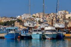 马耳他 marsaxlokk 小船钓鱼传统 免版税图库摄影