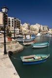 马耳他- St julians港口 免版税库存照片