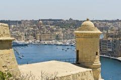 马耳他La瓦莱塔,港口的全景 库存照片