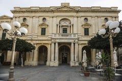 马耳他国立图书馆门面在瓦莱塔 库存图片