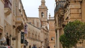 马耳他6月4日2016年Rabatt, 马耳他Rabatt镇-光滑跟随焦点到一个地方教会 股票录像