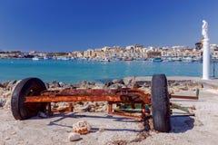 马耳他 海滩的圣徒监护人在Marsaxlokk村庄  免版税图库摄影