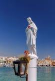 马耳他 海滩的圣徒监护人在Marsaxlokk村庄  免版税库存图片