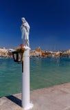 马耳他 海滩的圣徒监护人在Marsaxlokk村庄  库存图片