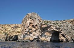 马耳他,蓝色洞穴美丽如画的站点  免版税图库摄影