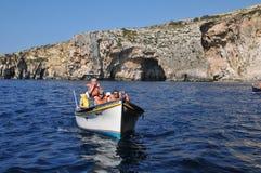 马耳他,蓝色洞穴美丽如画的站点  免版税库存照片