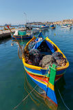 马耳他 marsaxlokk 小船钓鱼传统 图库摄影