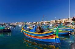 马耳他 marsaxlokk 小船钓鱼传统 免版税库存照片