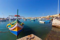 马耳他 marsaxlokk 小船钓鱼传统 库存照片