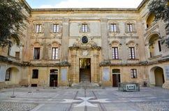 马耳他Vilhena宫殿庭院 免版税库存照片