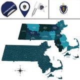马萨诸塞地图有地区的 免版税库存照片