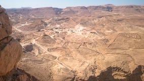 马萨达堡垒的全景在以色列 免版税库存照片