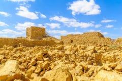 马萨达堡垒的遗骸  免版税库存照片