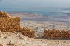 马萨达堡垒,国立公园,犹太,约旦河西岸,以色列 库存图片