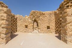 马萨达废墟,Judean沙漠的东部边缘的古老堡垒,以色列 图库摄影